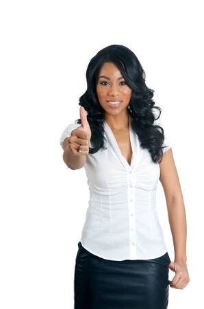 African American Woman with thumbs up gesture photo