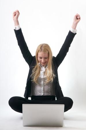 sitting down: Young Girl success at job career