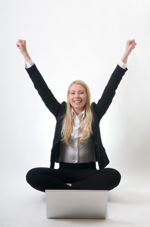 Over joyed Young Girl success at job career photo