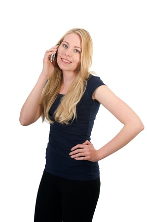 beautiful blond girl making a phone call photo