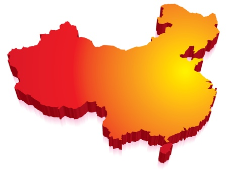 superpower: Red 3D map of China