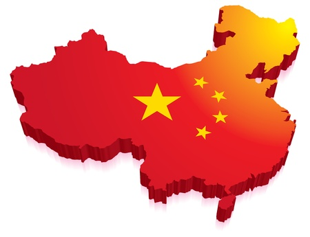 china flag: Maps of China in a 3D with flag