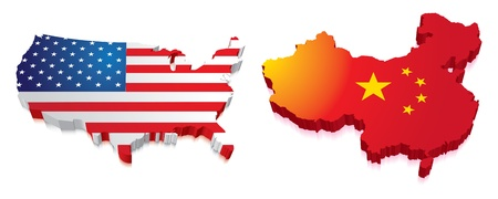Maps of China and US in a 3D with flag