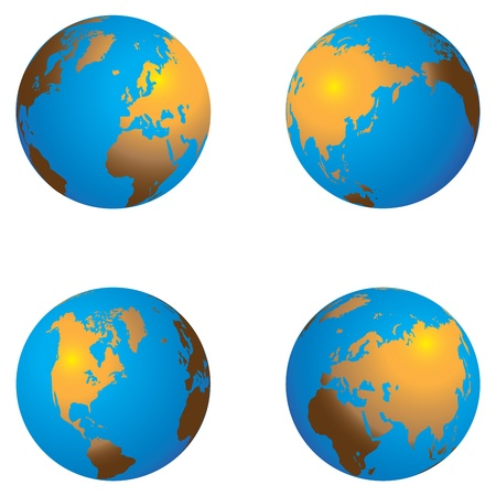 3D Color Continent Globe with different views Stock Vector - 15513324