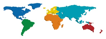 3D Continent and Country map separated by color