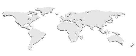 Een kaart van de wereld in zwart-wit 3D Stock Illustratie