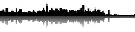 Vector de la silueta Horizonte de Chicago panorama