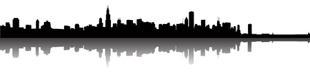 chicago: Vector the Chicago skyline panorama silhouette