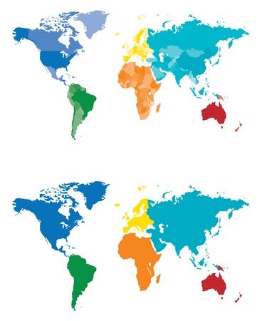 Mapa Continente y pa�s separados por color Vectores