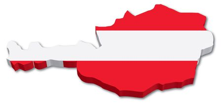3D Austria map with flag illustration on white background