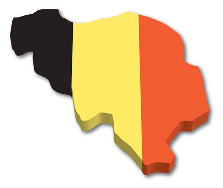 3D Belgium map with flag illustration on white background Stock Vector - 15513319