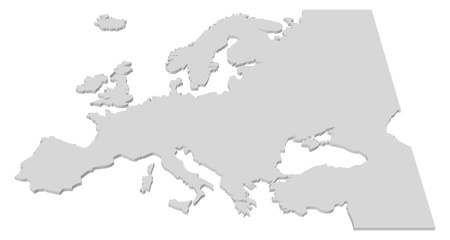 Black and White 3D Map of the European Countries