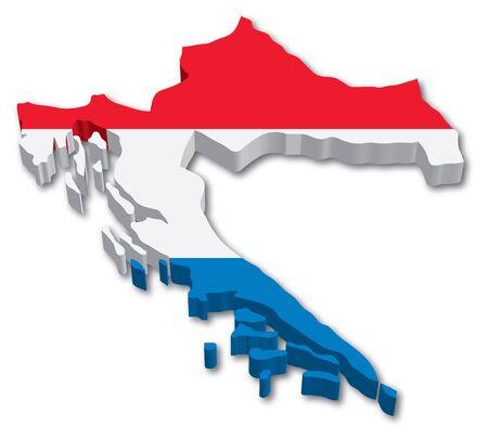 bandera de croacia: Croacia mapa 3D con la ilustración bandera sobre fondo blanco