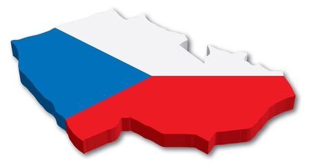 3D Czech map with flag illustration on white background