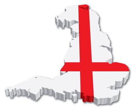 Inglaterra 3D mapa con la ilustraci�n bandera sobre fondo blanco