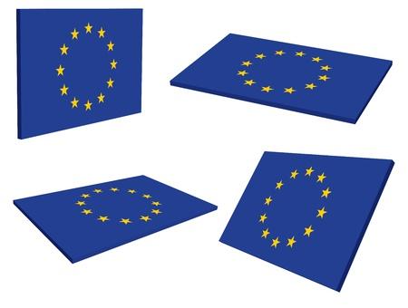 유럽 연합 EU의 3D 플래그