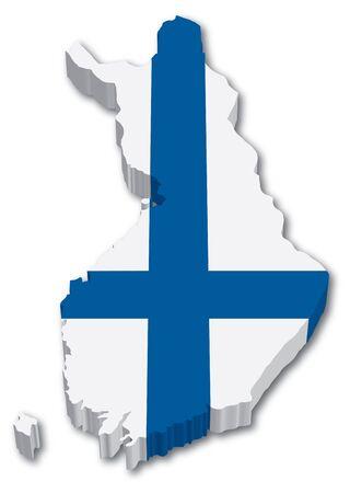 3D Finlandia mapa con la ilustración bandera sobre fondo blanco