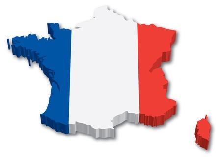 3D Frankrijk kaart met vlag illustratie op een witte achtergrond