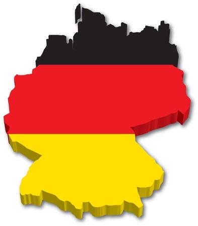3D Alemania mapa con la ilustración bandera sobre fondo blanco