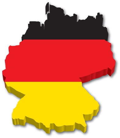bandera alemania: 3D Alemania mapa con la ilustraci�n bandera sobre fondo blanco