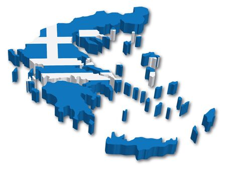 greece flag: 3D Greece map with flag illustration on white background Illustration