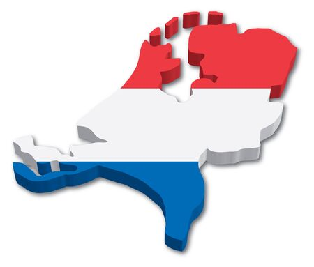3D Holland map with flag illustration on white background Ilustracja