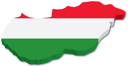 3D Hungary map with flag illustration on white background Ilustração