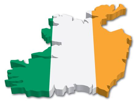 ireland flag: 3D Ireland map with flag illustration on white background Illustration