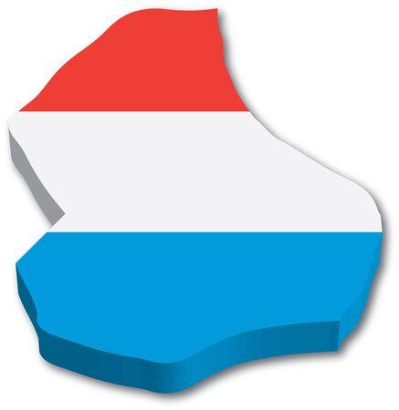 3D kaart van Luxemburg met vlag illustratie op witte achtergrond