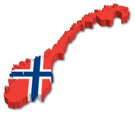 Noruega mapa 3D con la ilustración bandera sobre fondo blanco