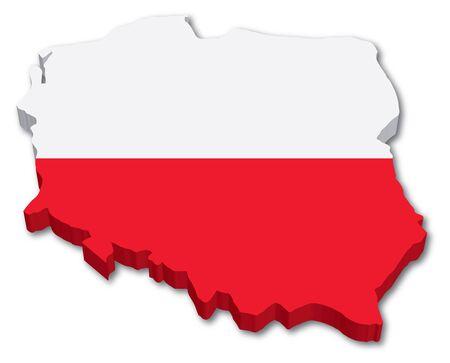 3D Poland map with flag illustration on white background