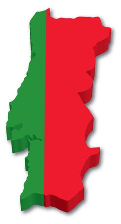 drapeau portugal: 3D Carte du Portugal avec drapeau illustration sur fond blanc