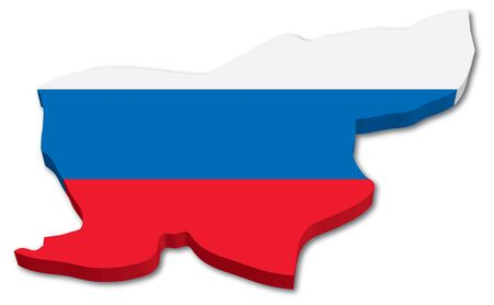 3D Slovenia map with flag illustration on white background Ilustração