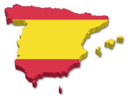 3D Espa�a mapa con la ilustraci�n bandera sobre fondo blanco