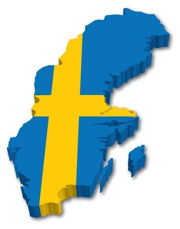 3D Suecia mapa con la ilustraci�n bandera sobre fondo blanco