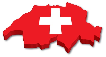 3D Swiss map with flag illustration on white background Ilustração