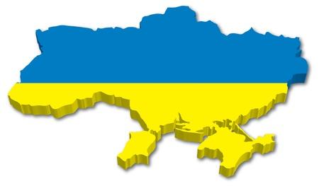 白い背景の国旗イラスト 3 D ウクライナ地図