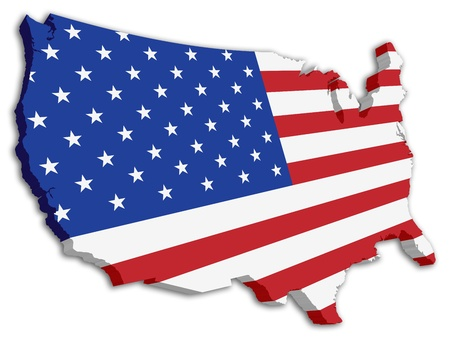 us map: A 3D US map with flag of the united states of america
