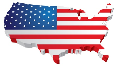 mexiko karte: Ein 3D US Karte mit Flagge der Vereinigten Staaten von Amerika