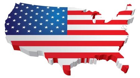 united  states of america: Una mappa 3D Stati Uniti con la bandiera degli stati uniti d'america