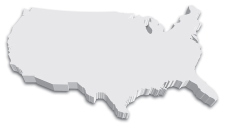 map of the united states: An US State map in Black and White 3D