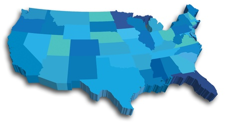 An US State map in Blue 3D tones Illustration