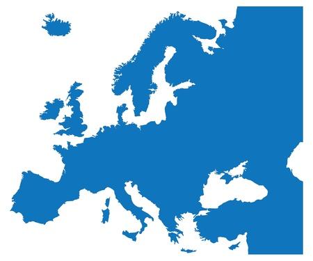유럽: 유럽 국가의 블루지도 일러스트