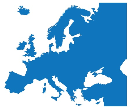 Blue Map of the European Countries Ilustração