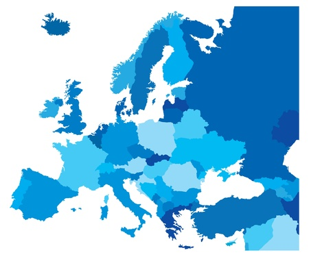 Blue Map of the European Countries Vector