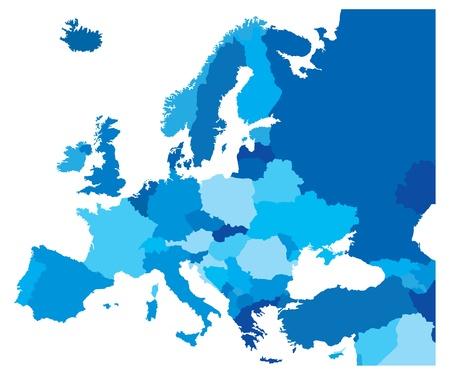 Mapa del azul de los países de Europa Ilustración de vector