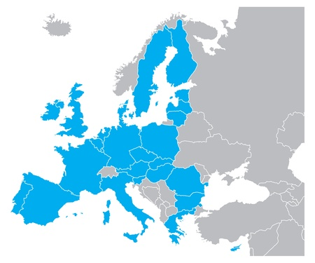 european maps: Blue Color Map of Europe Illustration