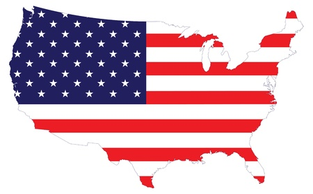 patriotic usa: Flag map of the united states of america