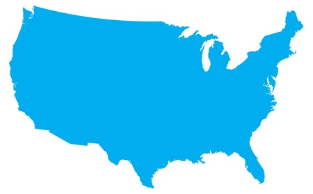 Blue country map of the United States of America