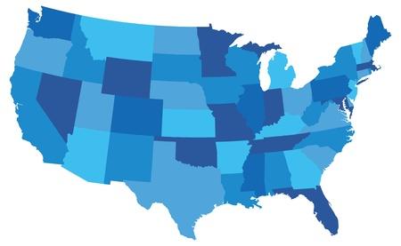 Estado mapa de los estados unidos de america en tonos azules Ilustración de vector